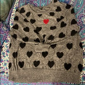 Torrid grey sweater with hearts.